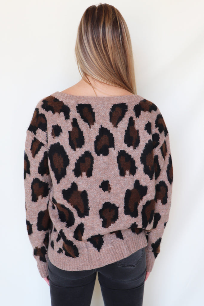 GO AS SHE GOES LEOPARD SWEATER | Olivaceous Blu Spero online shopping