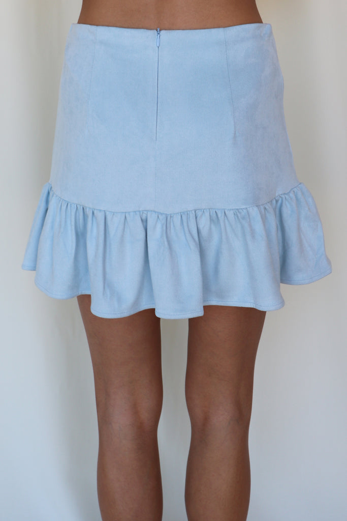 A NEW START BLUE SUEDE SKIRT