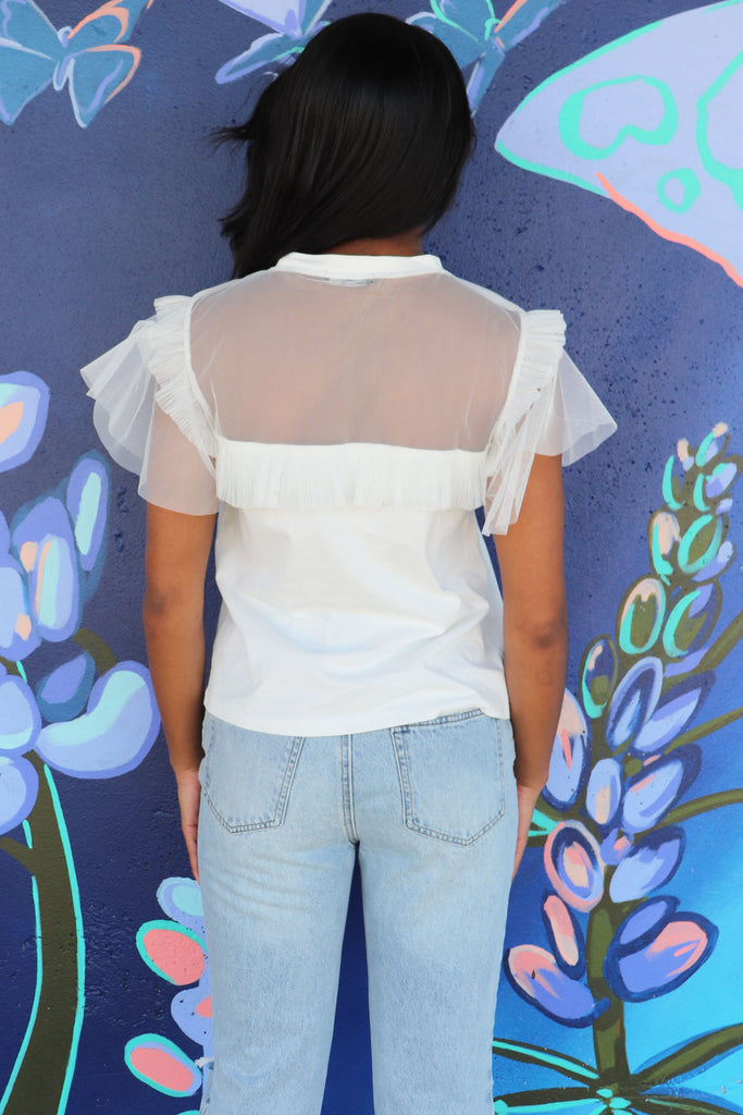DEEPLY GRATEFUL WHITE RUFFLE TOP