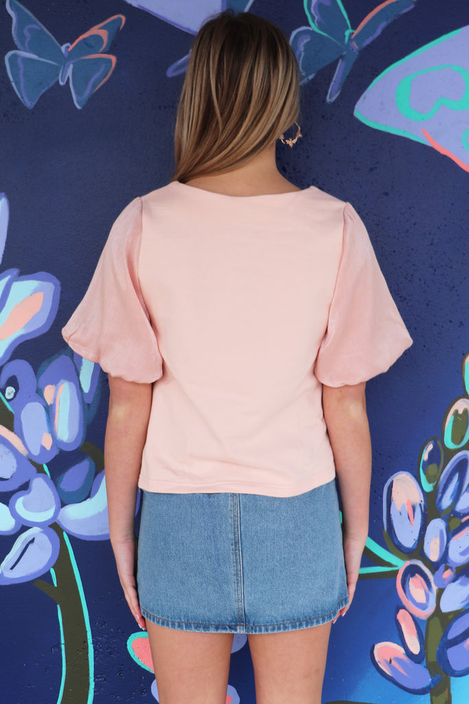 PRACTICE WHAT YOU PEACH PUFF SLEEVE TOP