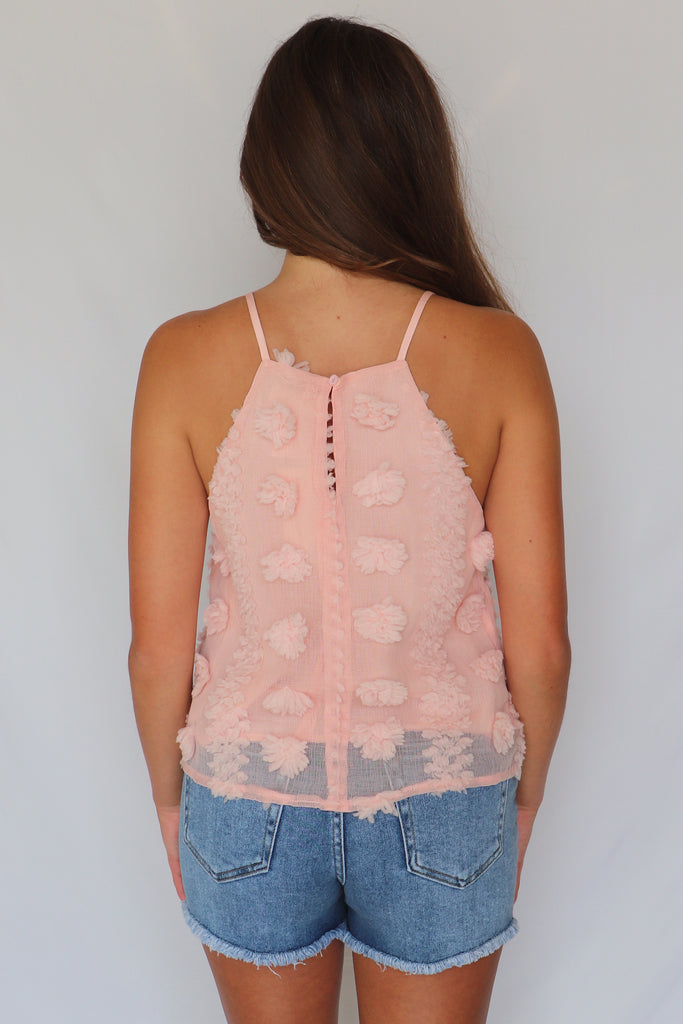 ALL THINGS EMBELLISHED HALTER BLUSH TOP