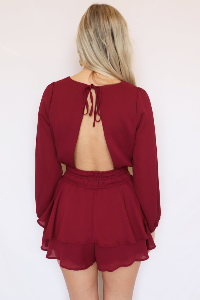 WIDE OPEN SPACES BURGUNDY ROMPER | LE LIS Blu Spero online shopping