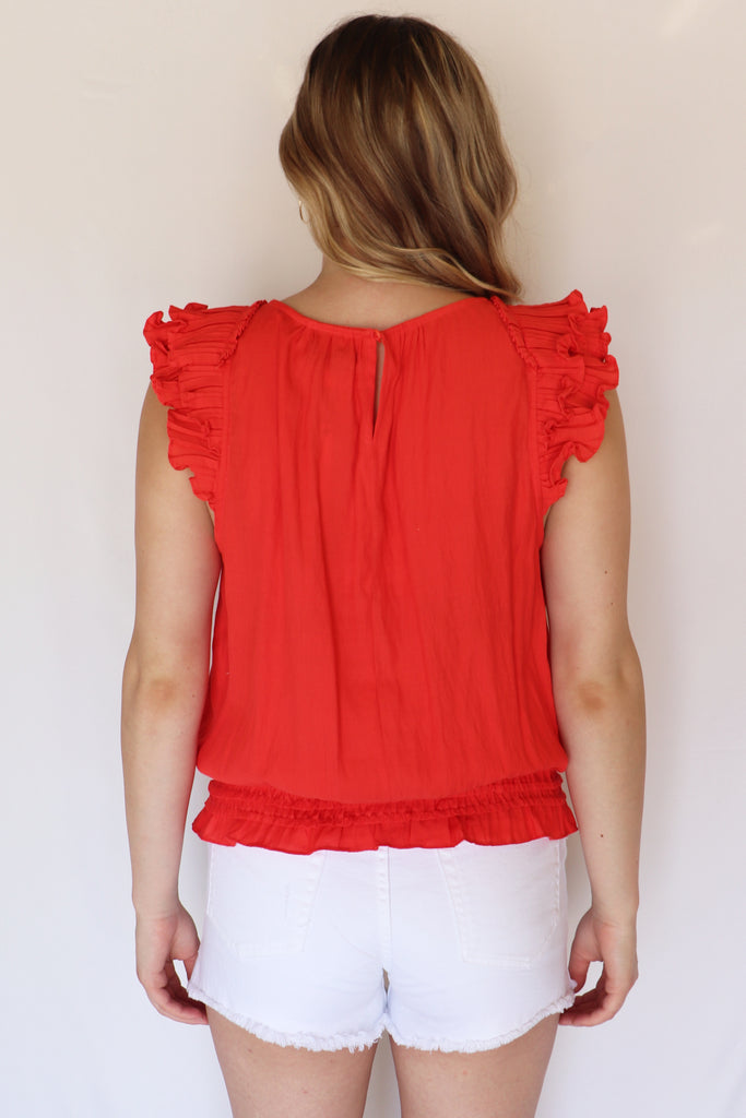 EVERYTHING NICE RUFFLED TOMATO TOP | DO + BE Blu Spero online shopping