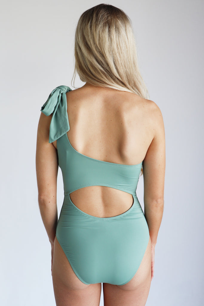 JUST BEACHY SAGE ONE-SHOULDER SWIMSUIT
