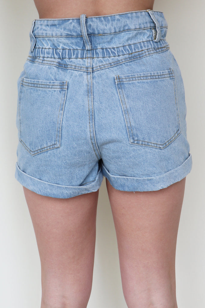 REBELLIOUS ROSE DENIM SHORTS