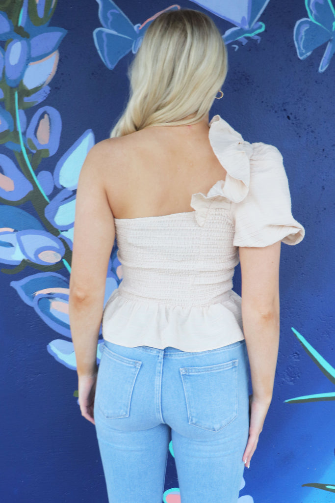 CONNECTED WHITE ONE SHOULDER TOP | EMORY PARK Blu Spero online shopping