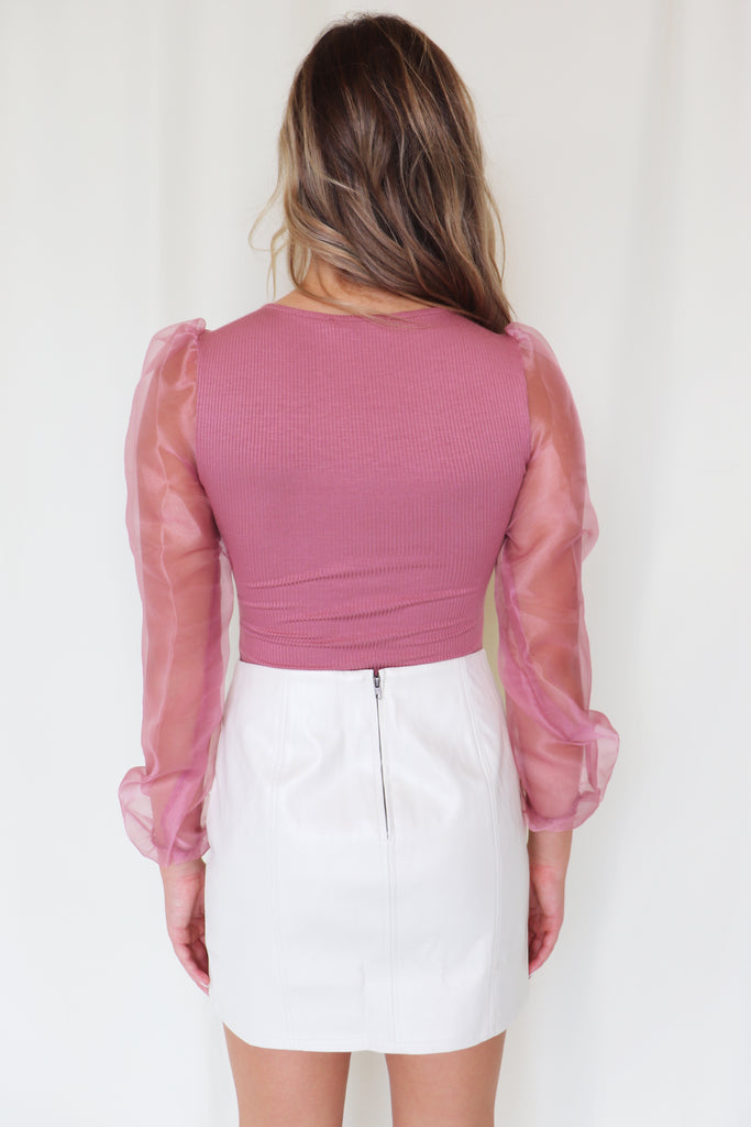 LET'S GO BEHIND FAUX LEATHER SKIRT