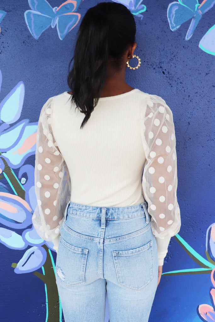 SHEER BLISS POLKA DOT TOP