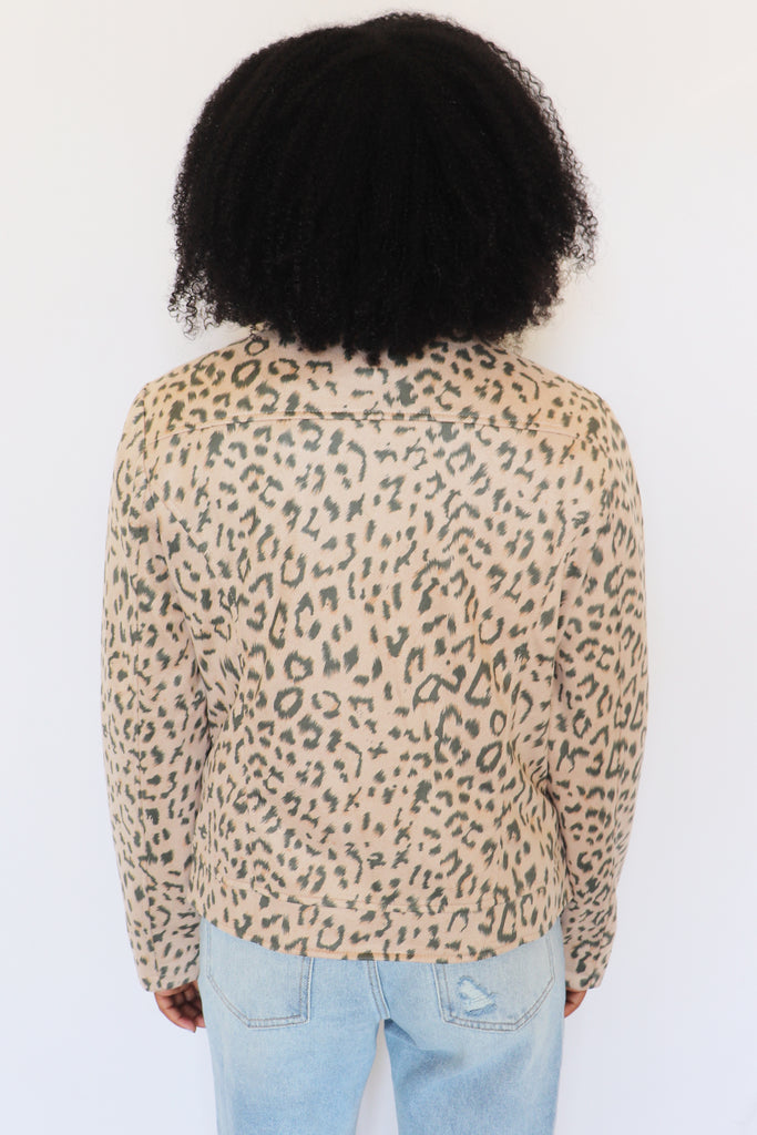 HELLO MOTTO LEOPARD JACKET | ANDREE Blu Spero online shopping