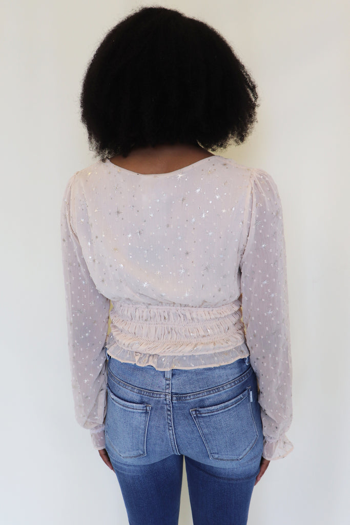 A STAR IS BORN CREAM SMOCKED TOP