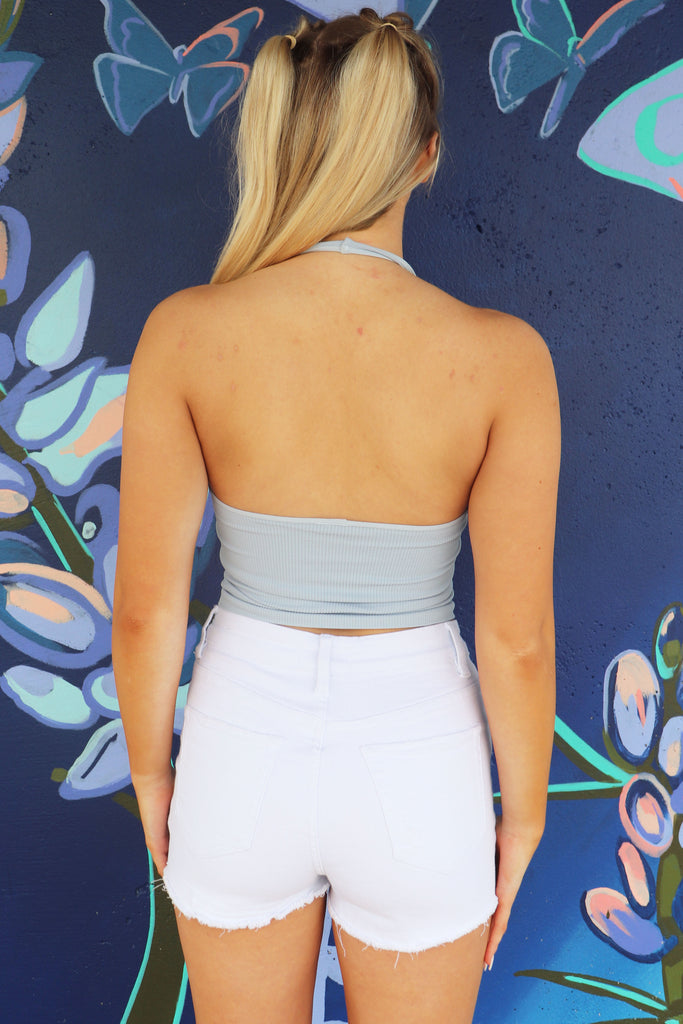 BLU BLUE RIBBED HALTER CROP TOP