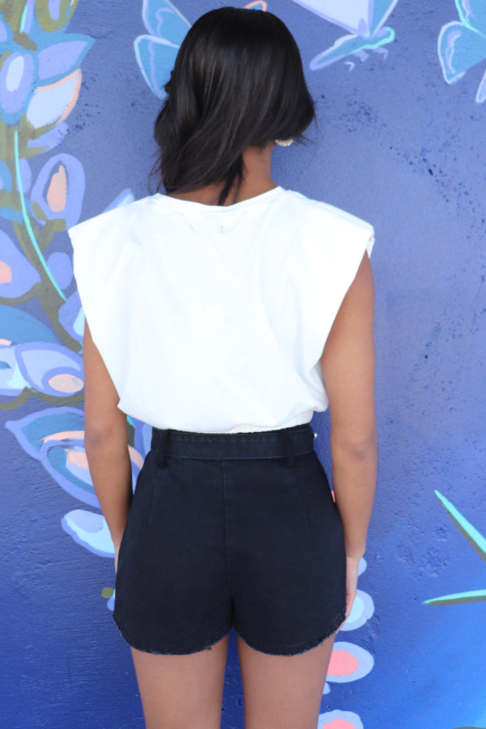 CONNECTED IVORY ONE SHOULDER TOP