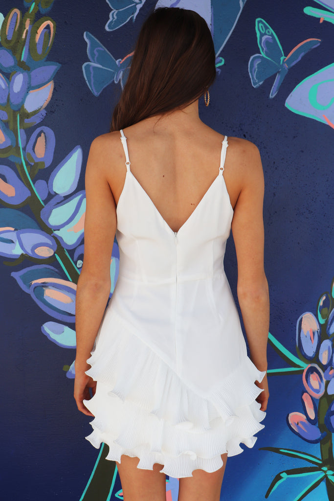 BRING ON THE GOOD TIMES WHITE MINI DRESS