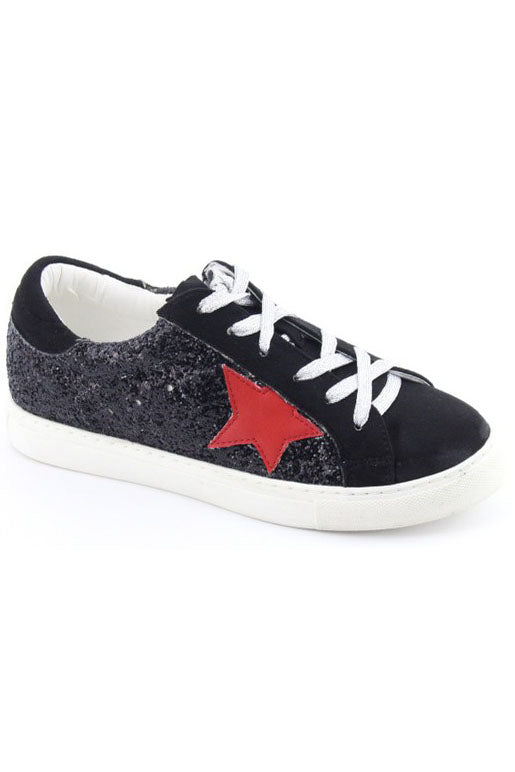 LAUREN BLACK GLITTER LACE UP SNEAKER