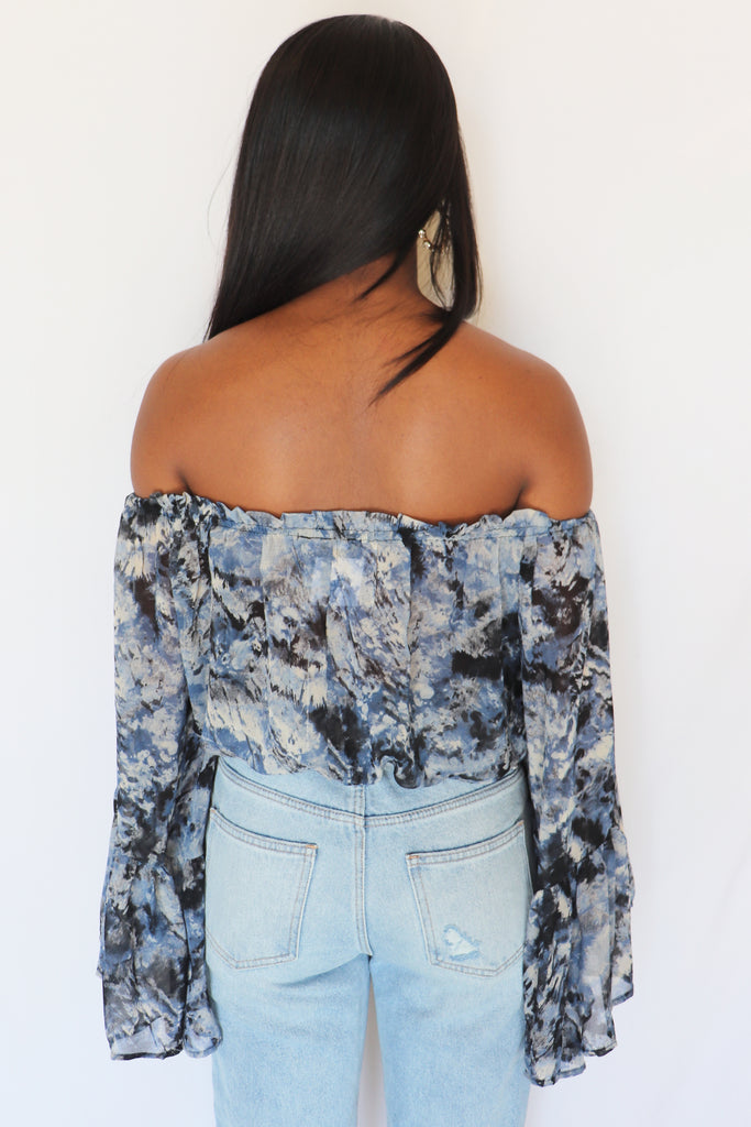 NEVER GIVE UP TIE DYE OFF-THE-SHOULDER TOP | Olivaceous Blu Spero online shopping