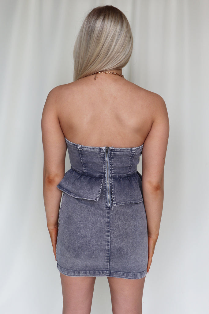 THE BRIGHT SIDE ACID WASHED DENIM DRESS