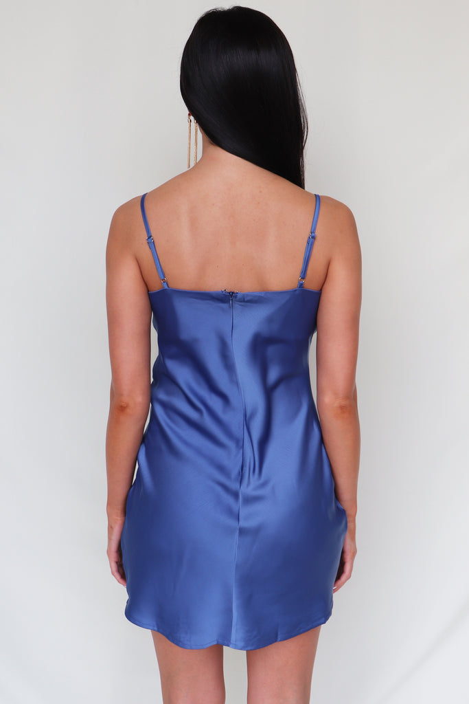 BEST OF THE BEST SATIN BLUE DRESS