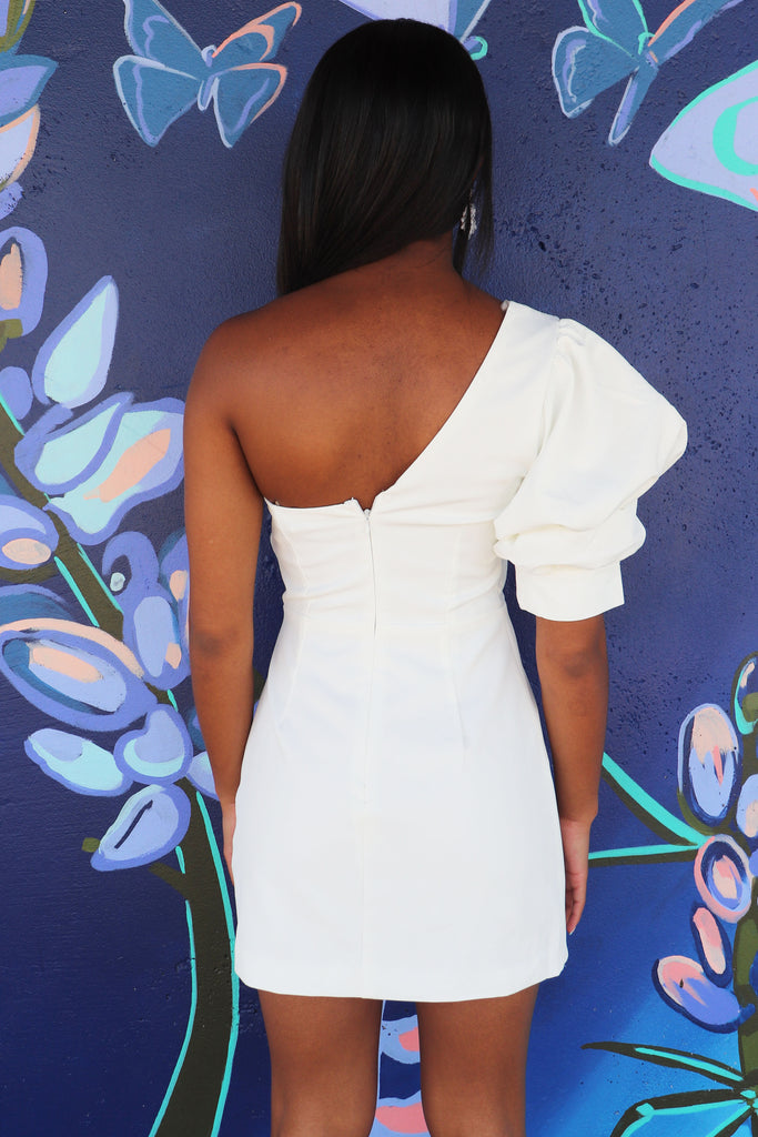 ELEVATE YOUR LOOK WHITE ONE SHOULDER DRESS