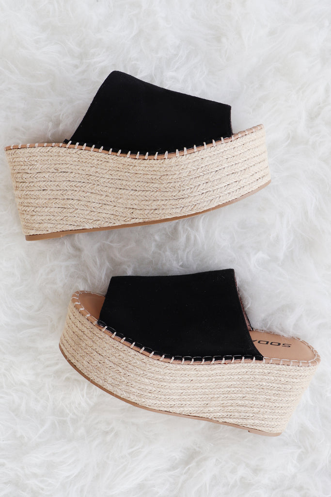 AVRIL BLACK ESPADRILLE PLATFORMS