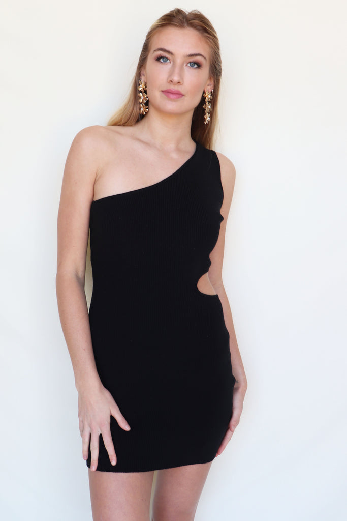 I WANNA DANCE BLACK ONE SHOULDER DRESS | LE LIS Blu Spero online shopping
