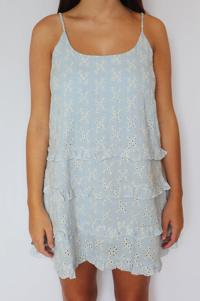 LOVE TO HUSTLE EYELET LACE DRESS | Olivaceous Blu Spero online shopping