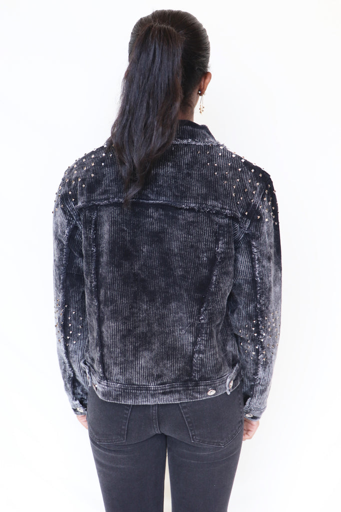 DRUM ROLL STUDDED CORDUROY JACKET | POL Blu Spero online shopping