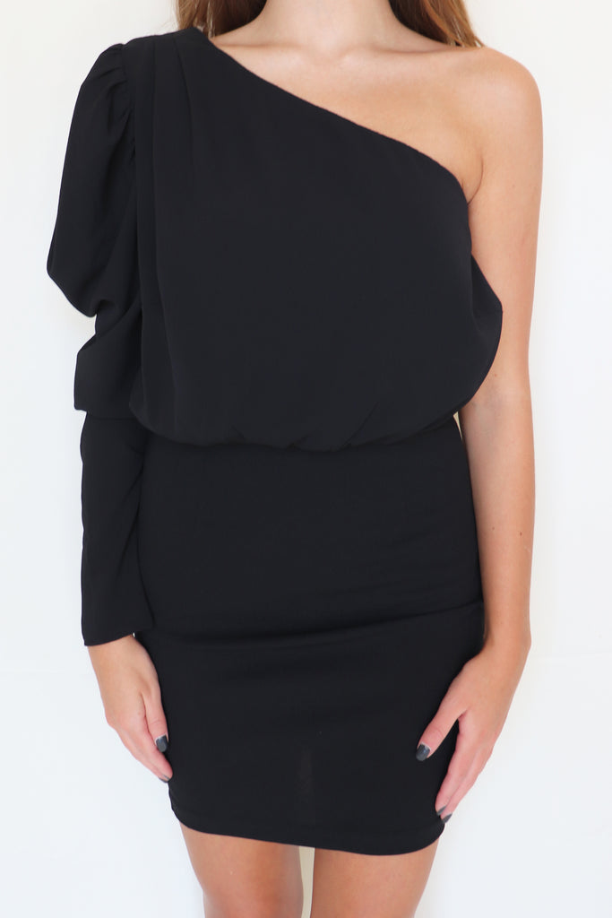 ROUND & ROUND ONE-SHOULDER DRESS | MAIN STRIP Blu Spero online shopping