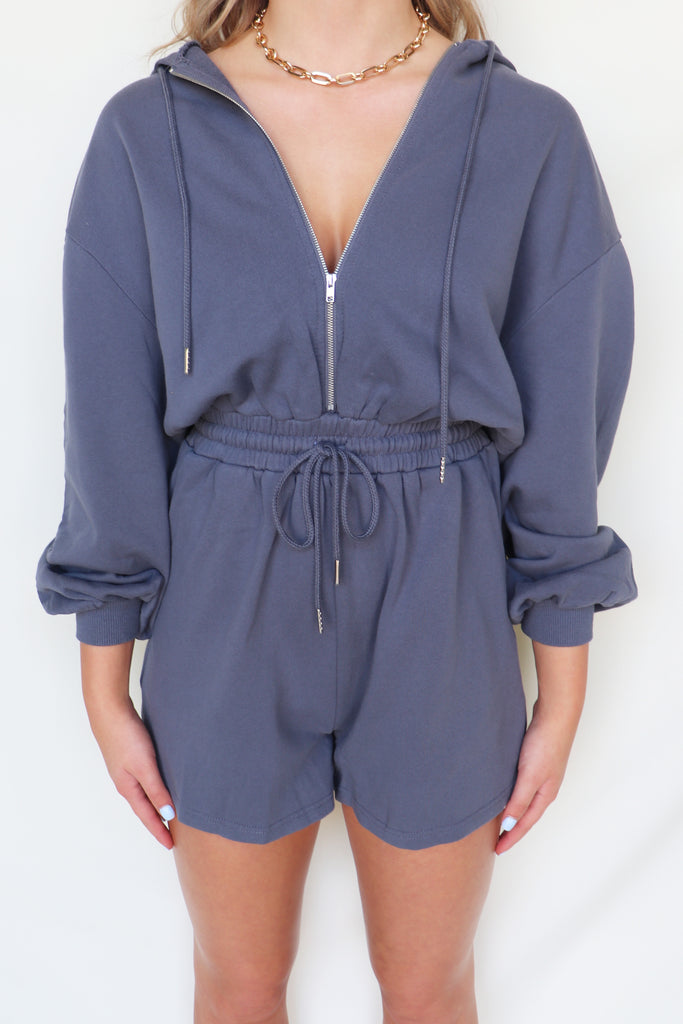 INTO THE NIGHT HOODIE ROMPER | BLUE BLUSH Blu Spero online shopping