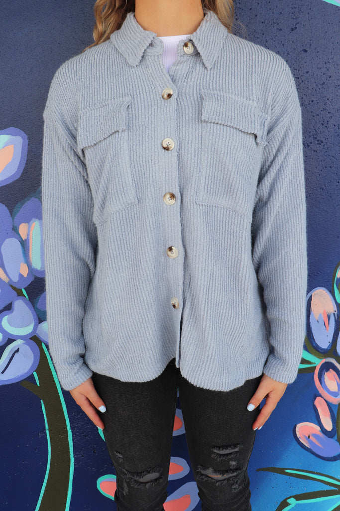 INTO THE LAGOON BUTTON UP SHACKET | BLUE BLUSH Blu Spero online shopping