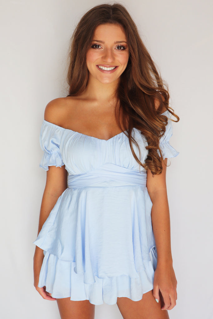 CAST AWAY OFF THE SHOULDER ROMPER | ONE AND ONLY Blu Spero online shopping