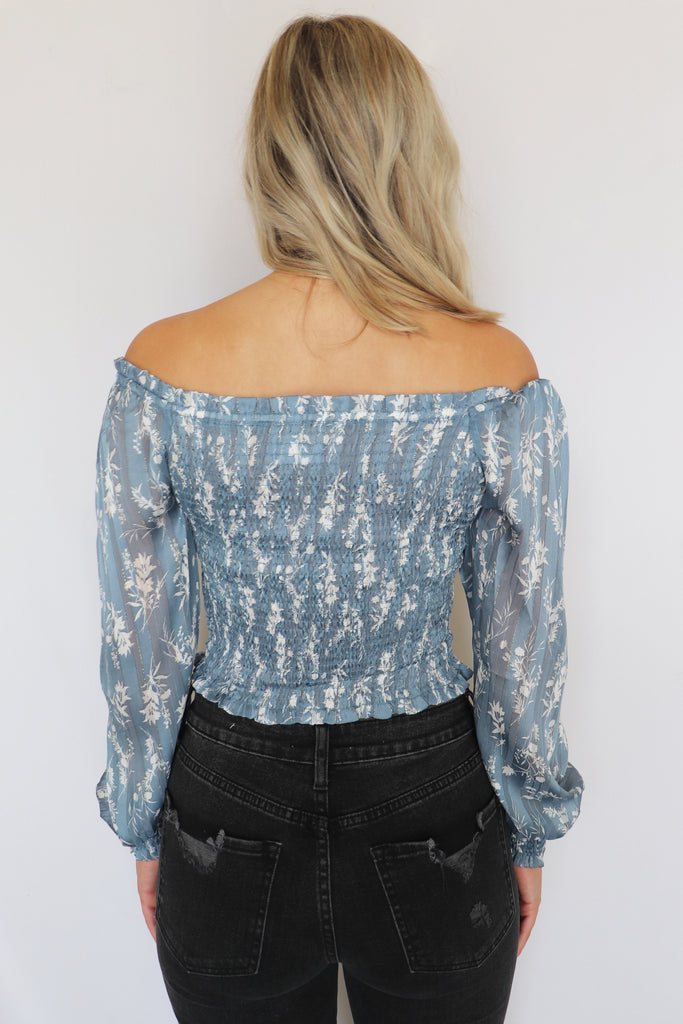 LOVING ME LATELY OFF THE SHOULDER TOP | ILLA ILLA Blu Spero online shopping