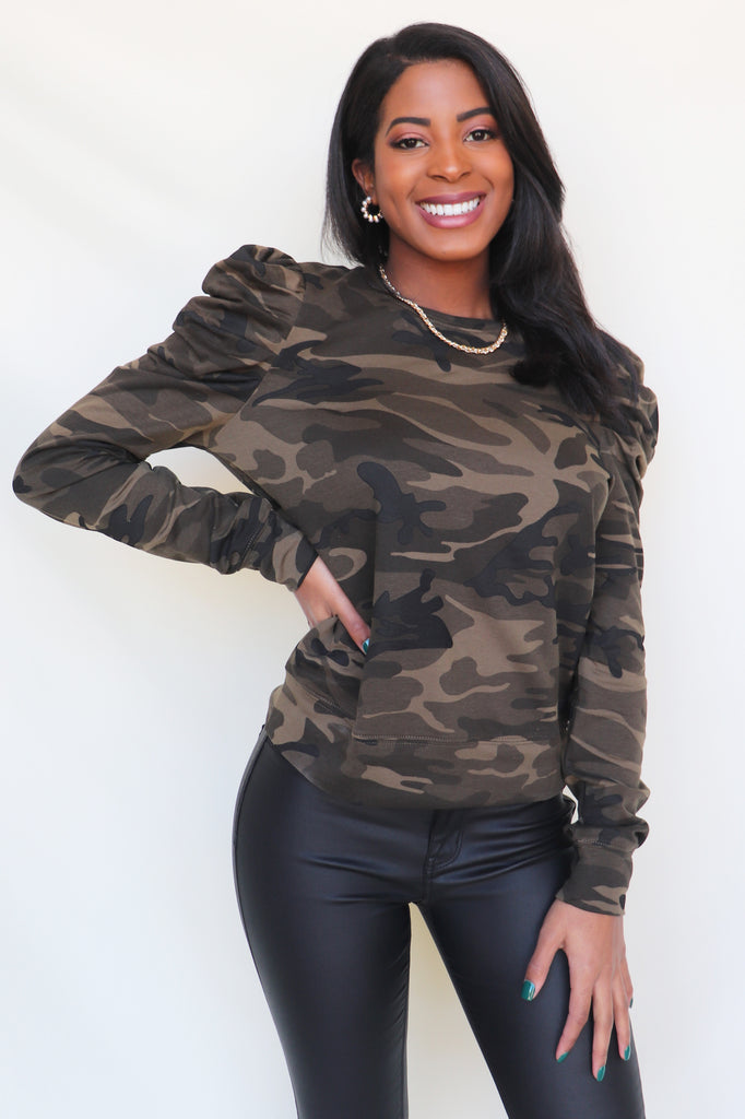 NOW YOU SEE ME CAMO TOP | PRETTY FOLLIES Blu Spero online shopping