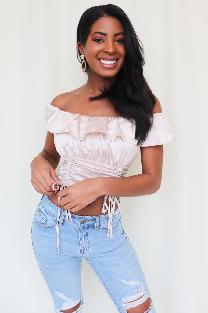 DIAMOND DUST OFF THE SHOULDER TOP