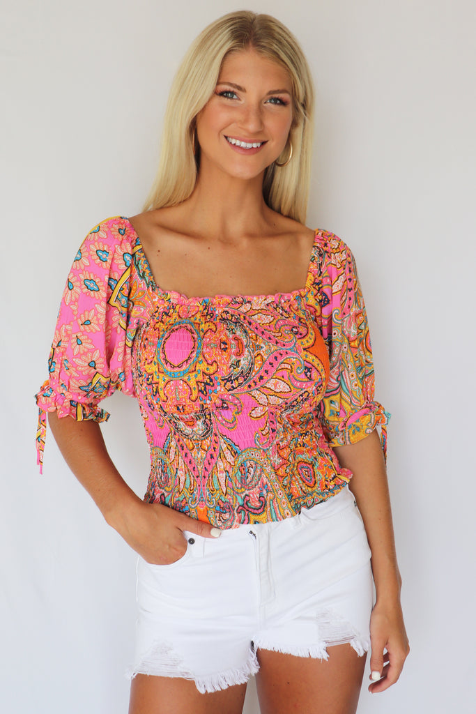 WAY WITH WORDS SMOCKED PAISLEY TOP