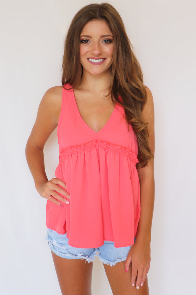 FOLLOW THE SUN CORAL TANK TOP | Everly Blu Spero online shopping