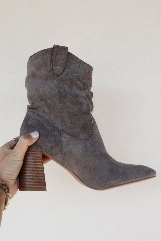 COLLINS GREY SUEDE BOOTIE