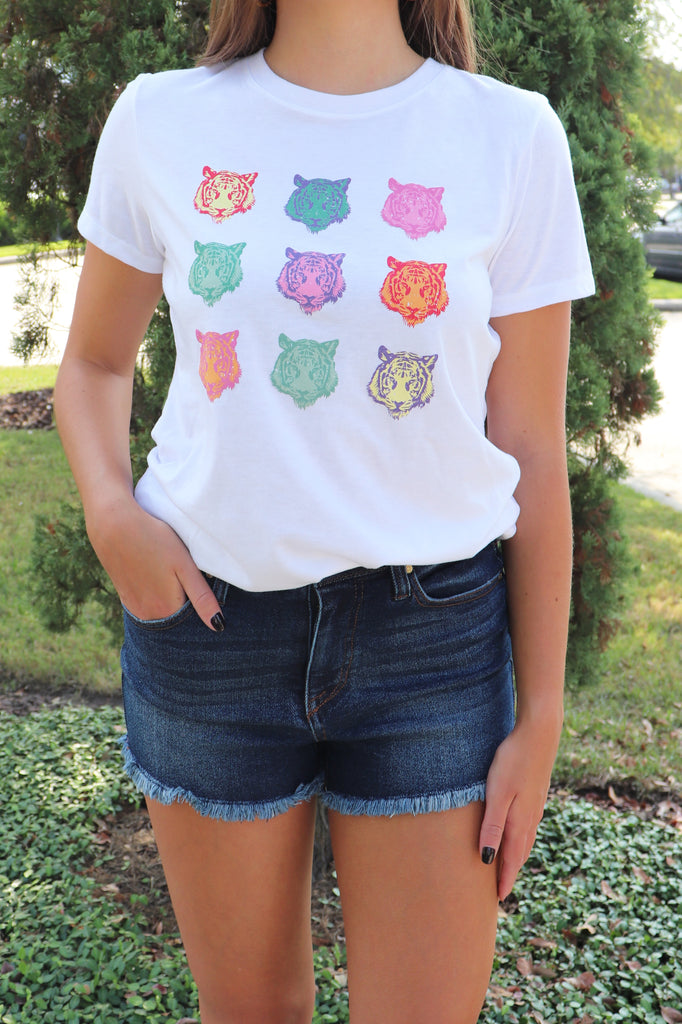 COLORFUL TIGER HEAD GRAPHIC TEE