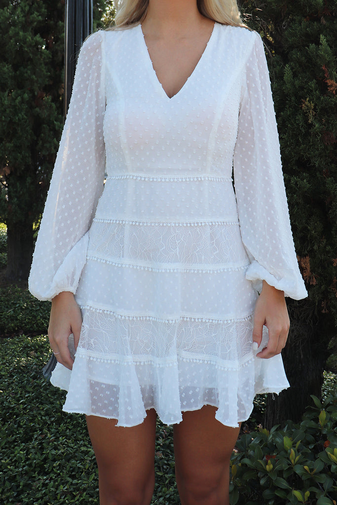 GARDEN PARTY WHITE LONG SLEEVE DRESS