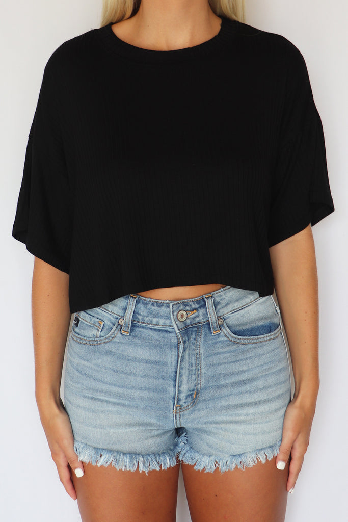 SAW THE SIGNS BLACK CROP TOP