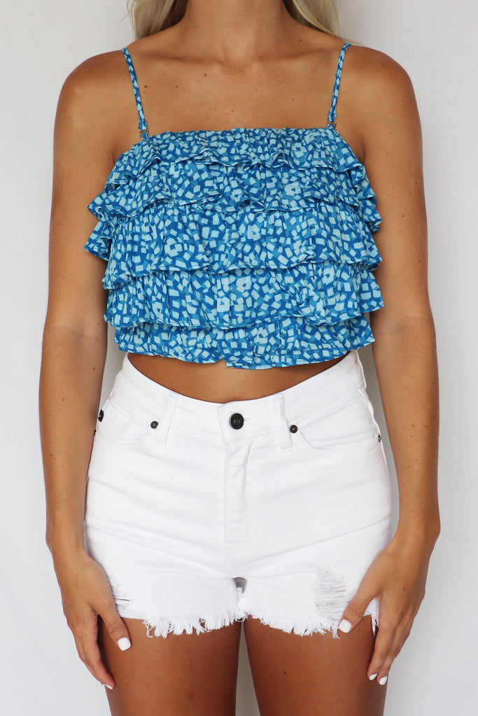 QUEEN OF THE NIGHT ICE BLUE CROP TOP