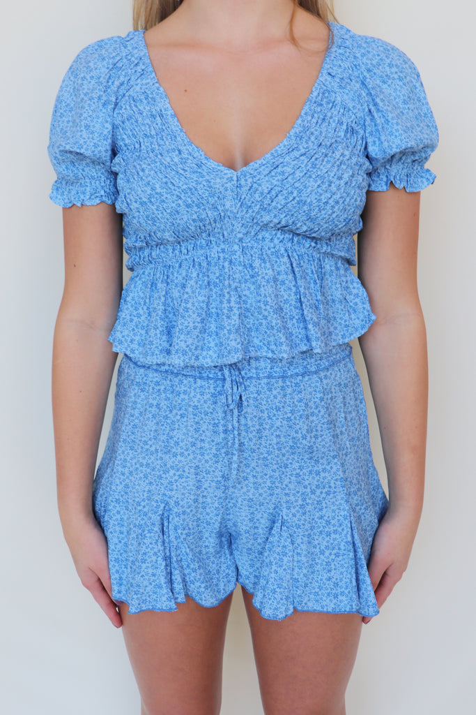 DANCE FLOOR BOUND BLUE SMOCKED TOP
