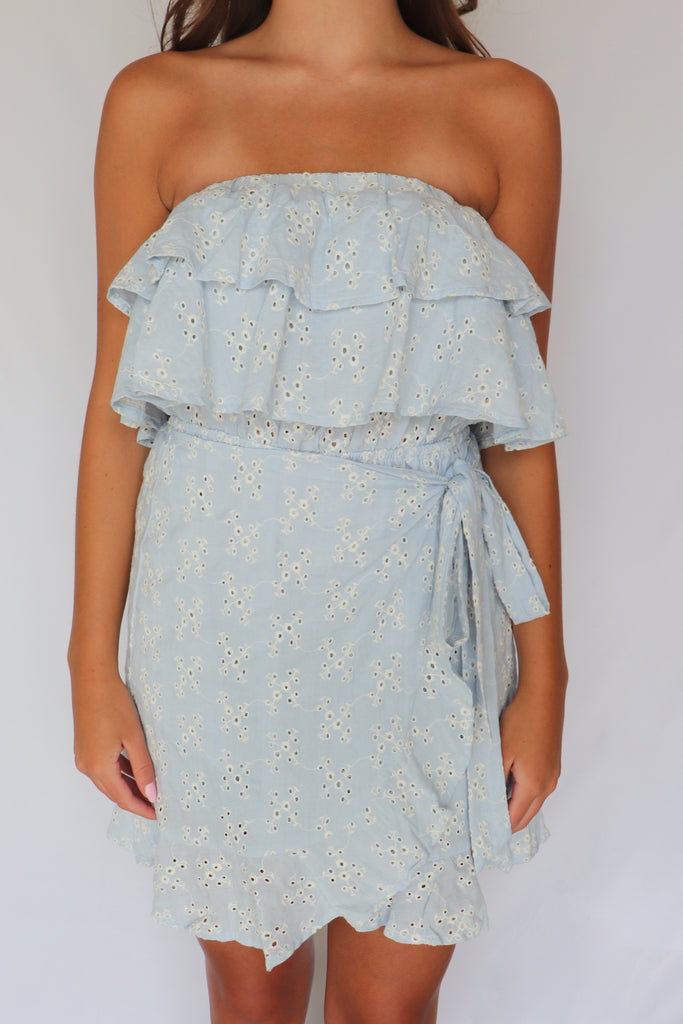 WOULDN'T THAT BE SWEET EYELET DRESS | Olivaceous Blu Spero online shopping