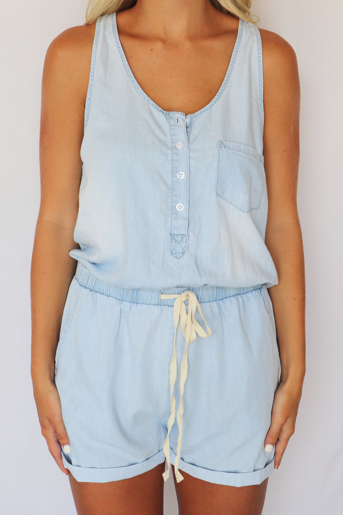 THINKING OUT LOUD CHAMBRAY ROMPER