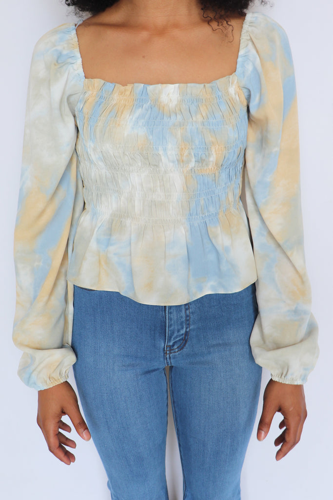 RISE LIKE THE DAY SMOCKED TOP - 2 COLORS | LE LIS Blu Spero online shopping