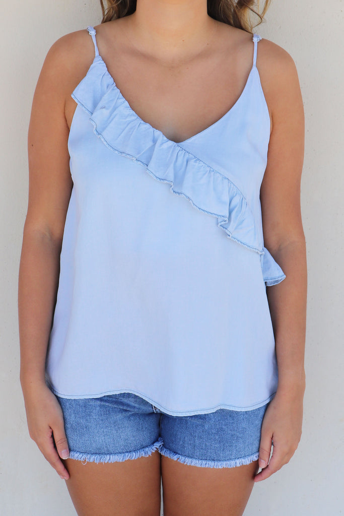 SUNDAY SIPPIN' CHAMBRAY TANK TOP | MUSTARD SEED Blu Spero online shopping