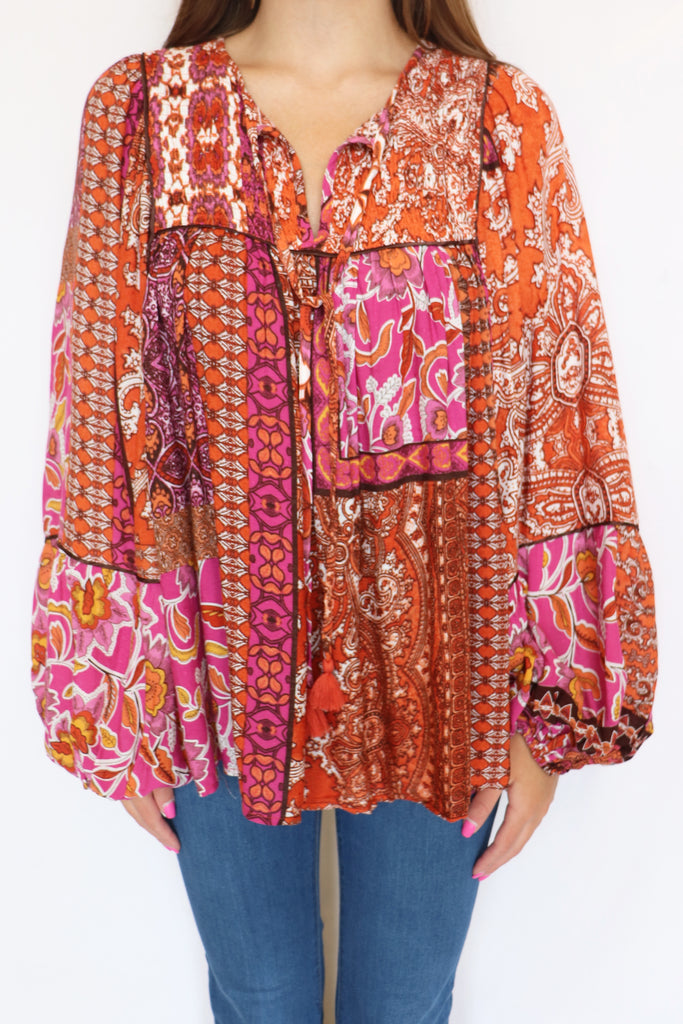 LATE AFTERNOON LONG SLEEVE PAISLEY TOP | Olivaceous Blu Spero online shopping