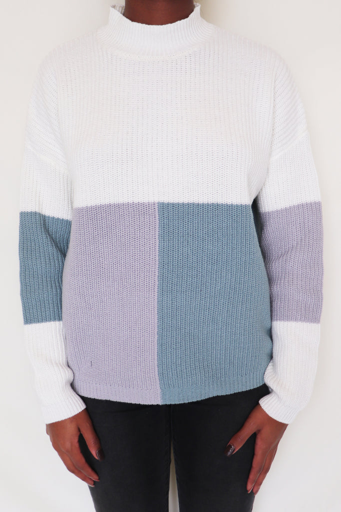 PERFORMANCE COLOR BLOCK SWEATER | ANDREE Blu Spero online shopping