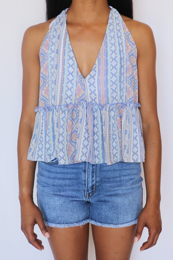 LOOK TO THE SKY BOHO HALTER TOP | FASCINATION Blu Spero online shopping