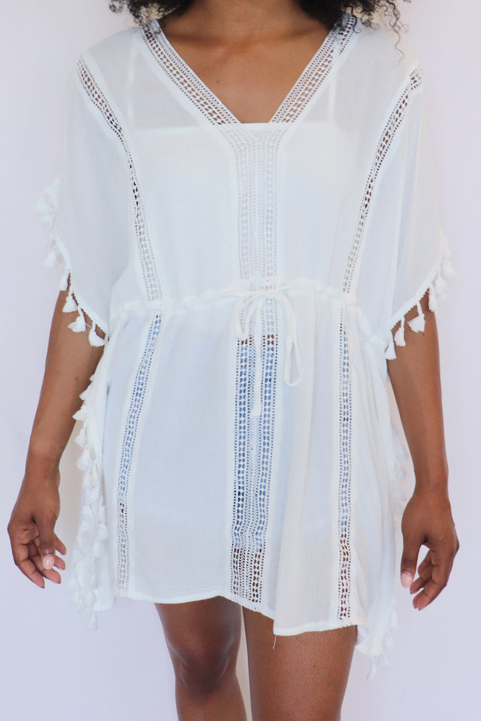 SHE'S GOT THE POWER WHITE COVER-UP | ILLA ILLA Blu Spero online shopping