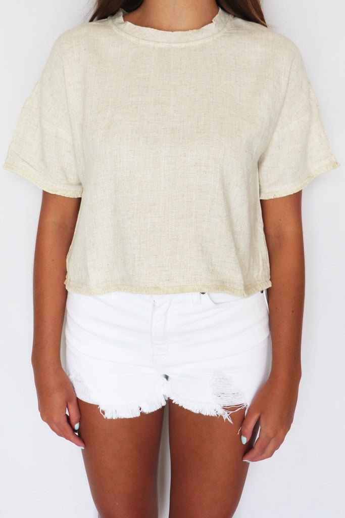BUTTERCUP FRINGE HEM CROP TOP | VERY J Blu Spero online shopping